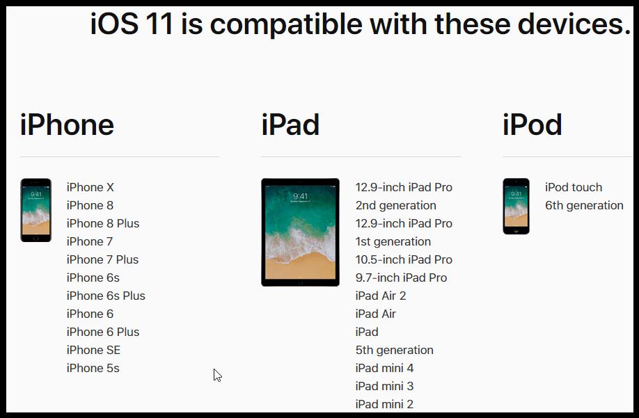 Dispozitive compatibile ios 11